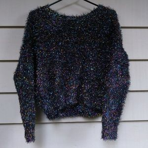 🍉$10 Black Rainbow Sparkle Thread Sweater